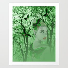 Fairy with Butterfly Tattoo Art Print