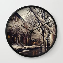 Photo of the beautiful Brooklyn Heights covered in icy snow Wall Clock