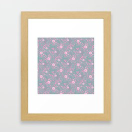 Abstract pink garden pattern in cian background Framed Art Print