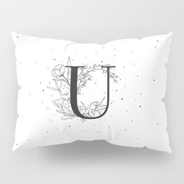 Black Letter U Monogram / Initial Botanical Illustration Pillow Sham