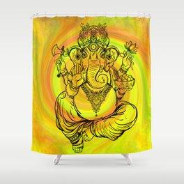 Lord Ganesha on Yellow Spiral Shower Curtain