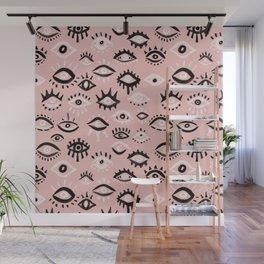 Mystic Eyes – Blush & Black Palette Wall Mural