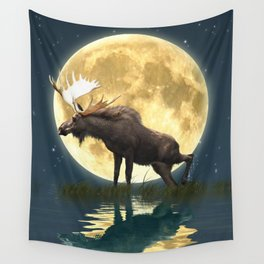 Moose & Moon Wall Tapestry