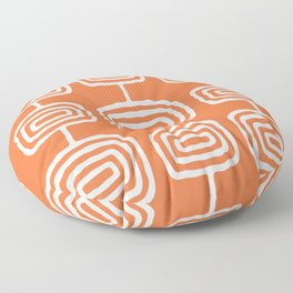 Mid Century Modern Atomic Rings Pattern 771 Orange Floor Pillow