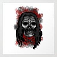 Machete Style Errorface skull Art Print