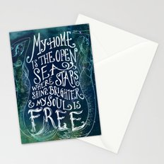 My Home is the Open Sea (Dark Night) Stationery Cards
