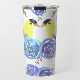American goldfinch or Spinus tristis bird and roses Travel Mug