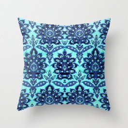 Floral Fabric Vintage Gift Pattern Blue Throw Pillow