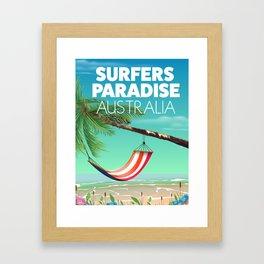 Surfers Paradise Australia beach travel poster. Framed Art Print