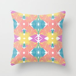 Tropical Color Blocks Abstract Watercolor Throw Pillow