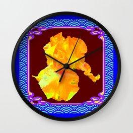Art Nouveau Golden Yellow  Iris in Blue-Purple Asian Pattern Wall Clock