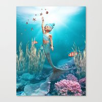 little mermaid Canvas Prints featuring Little Mermaid by Simone Gatterwe