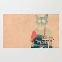 mad Area & Throw Rugs featuring Cool Cat by Ali GULEC
