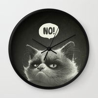 grumpy Wall Clocks featuring No! by Dr. Lukas Brezak