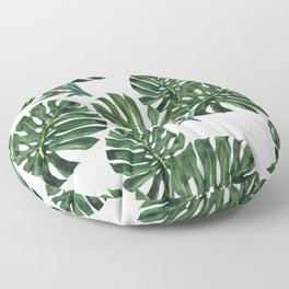Monstera leaf with snails Floor Pillow