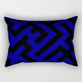 Black and Navy Blue Diagonal Labyrinth Rectangular Pillow
