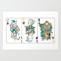 Bioshock Playing Card collection (Big Daddy/Splicer/Little Sister/Andrew Ryan/Delta) Art Print