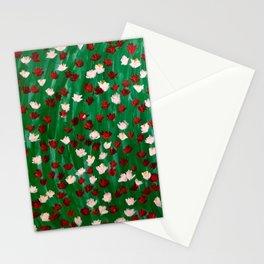 Red and White Flowers on Green Grass Stationery Cards