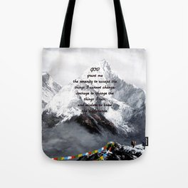 Serenity Prayer With Panoramic View Of Everest Mountain Tote Bag