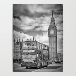 LONDON Houses of Parliament and traffic Poster