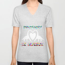 Dinosaurs Are Awesome Rainbow Unisex V-Neck