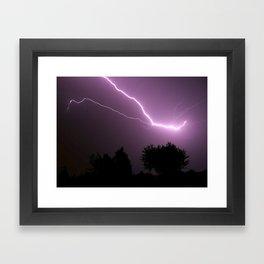 Purple Lightning Night Sky Framed Art Print