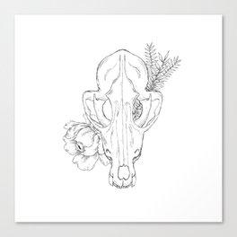 Floral Fox Skull Canvas Print