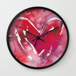 """Red Heart Love"" Red Pink & Magenta Valentine Ombre Heart Original Watercolor by Doreen Koch Allen Wall Clock"