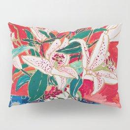 Blush Lily Bouquet on Orange Pillow Sham