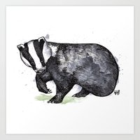 badger Art Prints featuring Badger by ZOO (William Redgrove)