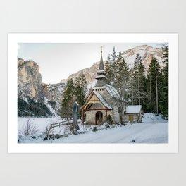 Cappella lago di Braies Art Print