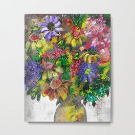 """Flowers in Vase"" Acrylic Mixed Media Painting Metal Print"