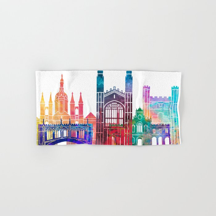 Cambridge landmarks watercolor poster Hand & Bath Towel