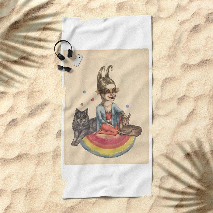 My little circus Beach Towel