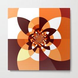 Orange Brown Cream Kaleidoscope Metal Print