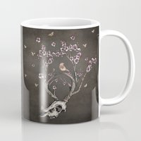 animal skull Mugs featuring Animal Skull and Butterflies by Paula Belle Flores