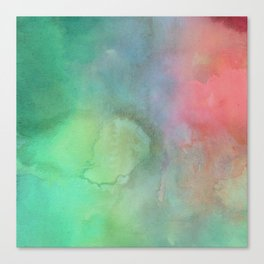 Abstract pink coral teal turquoise watercolor brushstrokes Canvas Print