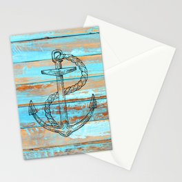 Naval Ship Anchor Teal Blue Chipped Paint Barnboard Stationery Cards