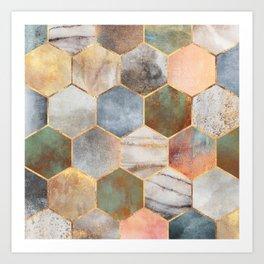 Pretty Hexagons Art Print