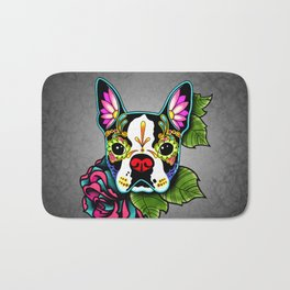 Boston Terrier in Black - Day of the Dead Sugar Skull Dog Bath Mat