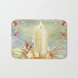 Christmas vintage candle Bath Mat