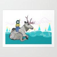 elk Art Prints featuring Elk by Anne Augenblick