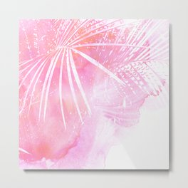 Abstract Pink Palm Tree Leaves Design Metal Print