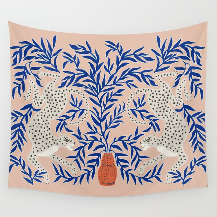 Leopard Vase Wall Tapestry
