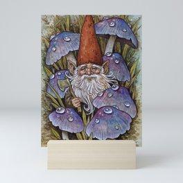 Gnome Among Purple Mushrooms Mini Art Print