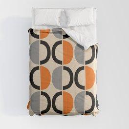 Mid Century Modern Half Circle Pattern 548 Beige Black Gray and Orange Comforters