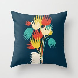 Hedgehog with flowers Throw Pillow
