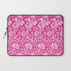 "William Morris Floral Pattern | ""Pink and Rose"" in Hot Pink and White Laptop Sleeve"