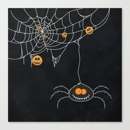 Halloween Spider on Web Canvas Print