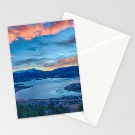 Lakeside Sunset // Mile High Rocky Mountain Orange and Blue Sky Stationery Cards